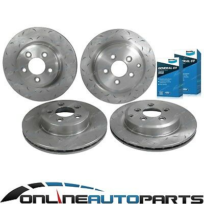 Front Rear Slotted Dimple Rotors Bendix GCT Brake Pads suits Falcon BF FG 05~12