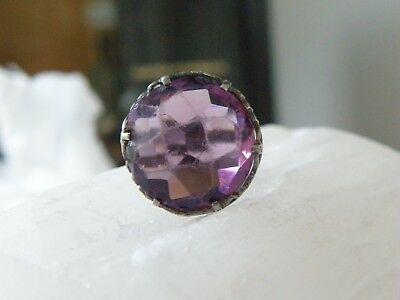 Antique Victorian Era Sterling Silver 925 Amethyst Glass Filigree Ring Size 6.5