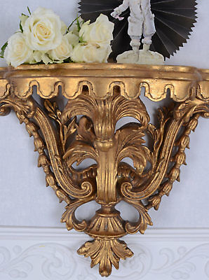 Wall shelf Rococo gold wall console wall board antique style patinated wood new