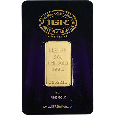 20 gram IGR Gold Bar - Istanbul Gold Refinery - 999.9 Fine in Sealed Assay