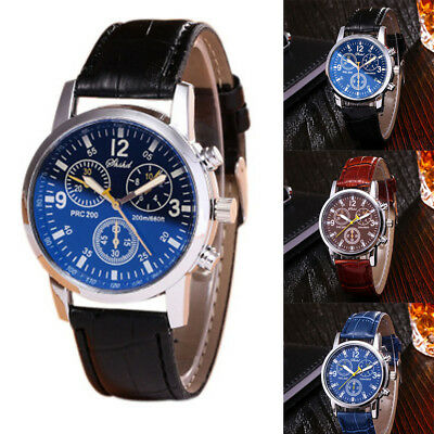 2018 Men's Casual Military PU Leather Stainless Steel Quartz Analog Wristwatches