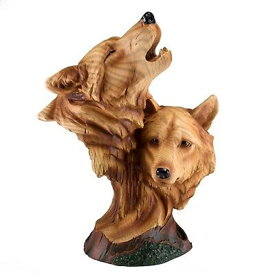 """Two Wolf Heads Bust Faux Carved Wood Look Figurine Statue Resin 9"""" High New!"""