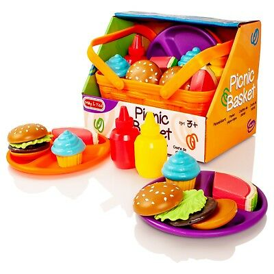 Milly & Ted Picnic Basket Soft Food Teaset - Pretend Play Set Children Kids Toy