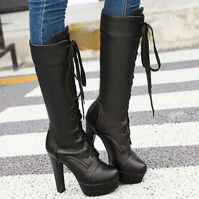 Chic Womens Punk Motorcycle Knee High Chunky Heels Platform Lace up Biker Shoes