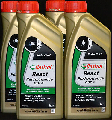 4x1 LITER CASTROL REACT PERFORMANCE BREMSFLÜSSIGKEIT DOT4  BRAKE FLUID