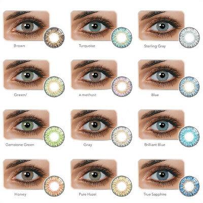 1 Pair Colored Cosmetic Contact Lenses 0 Degree Yearly Use Makeup Eyewear Vente