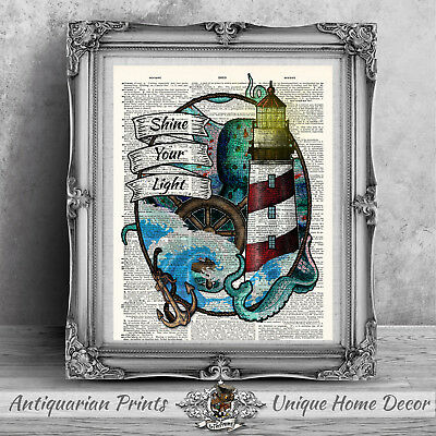 Nautical art Print on antique dictionary book page, Bathroom Octopus Tattoo