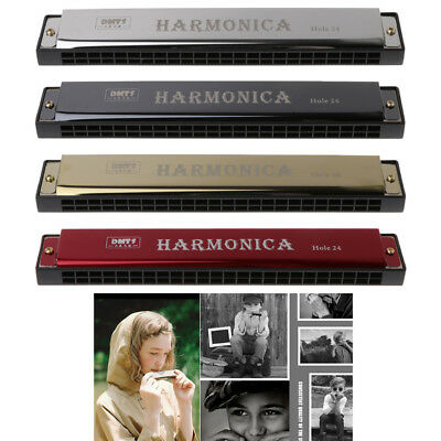 Professional 24 Hole Harmonica Key of C Mouth Organ for Beginners Gift Metal