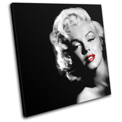 Marilyn Monroe Red Lips Iconic Celebrities SINGLE CANVAS WALL ART Picture Print