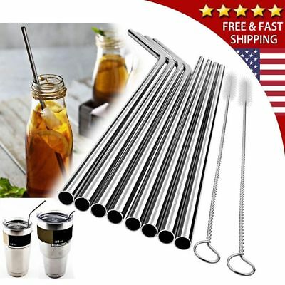 "10.5"" Stainless Steel Metal Drinking Straws Fits Yeti RTIC Tumbler 20 30 oz US"
