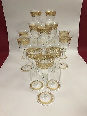 Antique Saviati Venetian set for 12 hand blown Gilt Goblet