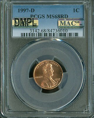 1997-D Lincoln Cent Pcgs Ms68 Red Dmpl Pq Finest Registry Spotless *
