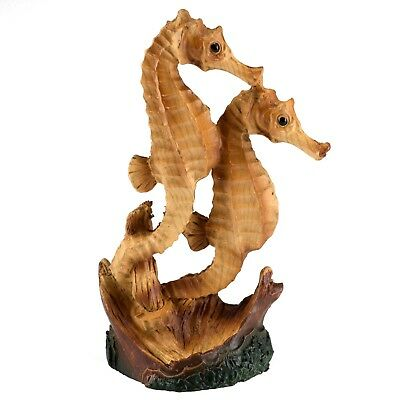 "Mini Pair of Seahorses Faux Carved Wood Look Figurine Resin 4.5"" High Pose B"