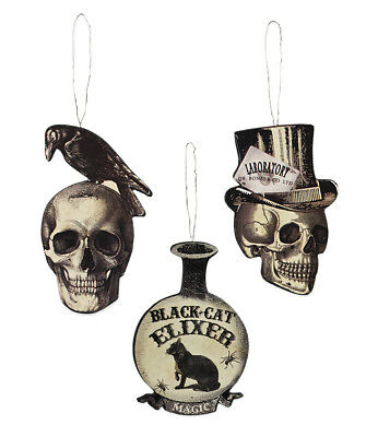 Bethany Lowe Halloween Apothecary Vintage Images Ornaments Set/3 Skull Cat Crow