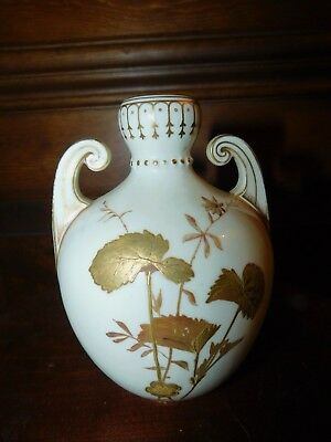 "ANTIQUE 19th century Derby porcelain gold vase 6 1/8"" Burley & co Chicago"