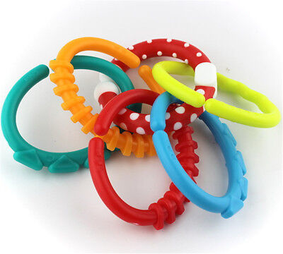 6XColorful Rainbow Rings Baby Teether Crib Bed Stroller Hanging Rattles Toys UK
