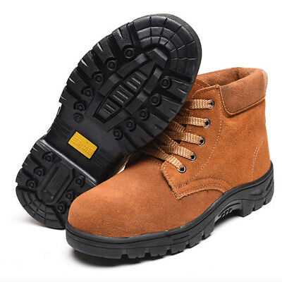 19113ddfdc0 STEEL CAP REAL Leather Boot Safety Slip On Black Slip & Heat ...