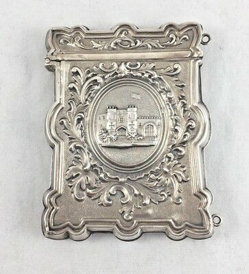 Rare Wood & Hughes Sterling Castle Scene Card Case
