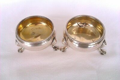 Extremely Rare Pair Of Solid Silver George II Open Salt Cellars 1750