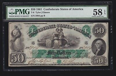 US 1861 CSA T-6 $50 Confederate Currency w/ Full Margins PMG 58 Ch AU EPQ (-984)