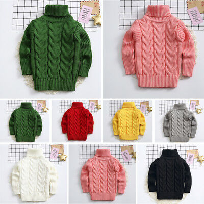 Kids Pullover Knitted Turtleneck Baby Girls Boys Jumper Pullover Loose Outerwear