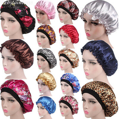 US Women Satin Night Sleep Cap Hair Bonnet Hat Silk Head Cover Wide Elastic Band