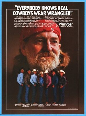 1986 Willie Nelson Real Cowboys Wear Wrangler Blue Jeans Rodeo Stars Ad