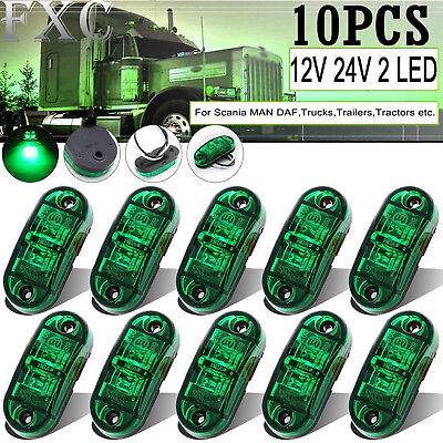 10 x 12V 24V LED GREEN MARKER LAMPS - Boat/Caravan/Trailer Clearance Lights - AU