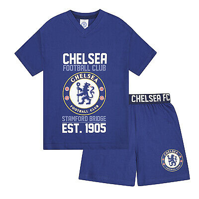 Chelsea FC Official Football Gift Boys Kids Short Pyjamas