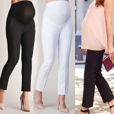 Women Long Maternity Pants Straight Belly Protection Trousers High Waist S-XL