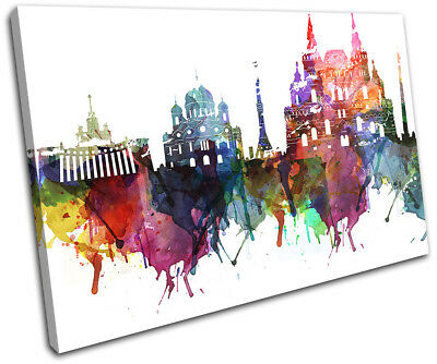 Moscow Watercolour Style Abstract City SINGLE CANVAS WALL ART Picture Print