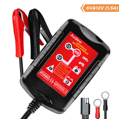 Audew 6V/12V 1.5Amp Automatic Battery Charger Auto Trickle Charging for Car Van