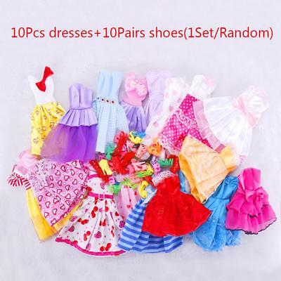 10 Pairs Party Daily Wear Dress Outfits Clothes Shoes For Barbie Doll ba#24