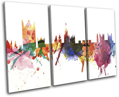 London Watercolour Style Abstract City TREBLE CANVAS WALL ART Picture Print