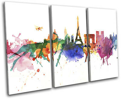Paris Watercolour Style Abstract City TREBLE CANVAS WALL ART Picture Print