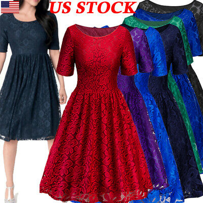 Elegant Women's Short Sleeve Lace Patchwork Cocktail Party Swing Skater Dress US