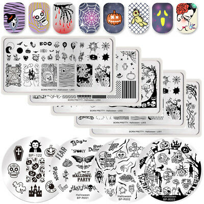 BORN PRETTY Nail Stamping Plates Halloween Day Skull Zombie Manicure Templates