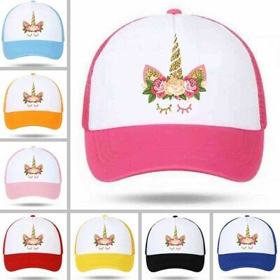 1pc Cartoon Unicorn Cap Girls Children Net Baseball Cap Summer Beach Sun Hat New