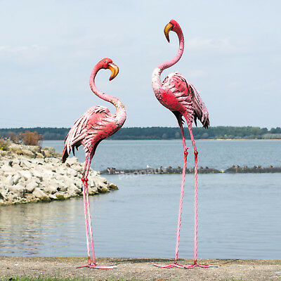 Set of 2 Extra Large Pink Flamingo Metal Garden Ornaments Art Figure Sculpture