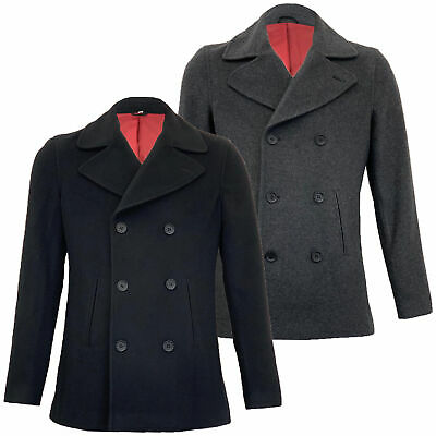 Mens Wool Jacket Double Breasted Trench Coat Collared Button Lined Casual Winter