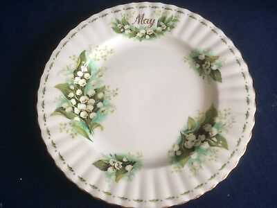 """Royal Albert Flowers Of The Month May  8 1/4""""dessert plate (second  & gilt wear)"""