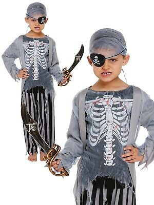 Childrens Zombie Ghost Pirate Halloween Party Fancy Dress Kids Costume Age 4 - 9
