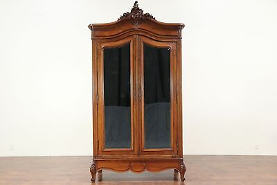 French Hand Carved Walnut Antique Armoire, Beveled Mirror Doors #29409