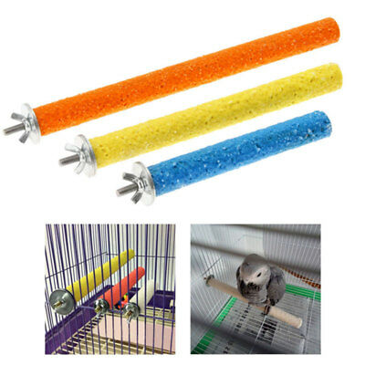 Pet Parrot Chew Toys Paw Grinding Quartz Sand Stand Pole Perch Pet Bird Toy NEW