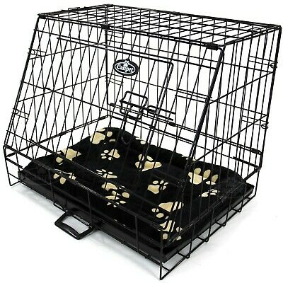 Small Car Dog Cage with Bed Sloping Travel Crate Puppy Pet Cat Carrier 24""