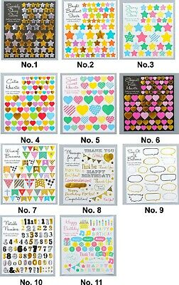 2pc 11 Styles Heart Star Number Flag Stickers Craft Cardmaking DIY Quality
