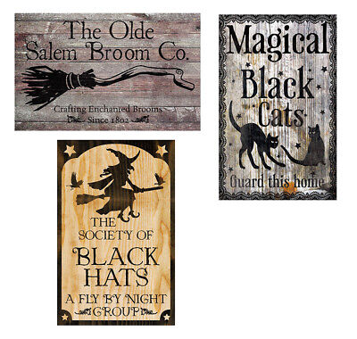 Halloween Metal Sign Decor 3 pc Set Rustic Signs Witch Decoration Broom Cat  Hat afb187f8b13a