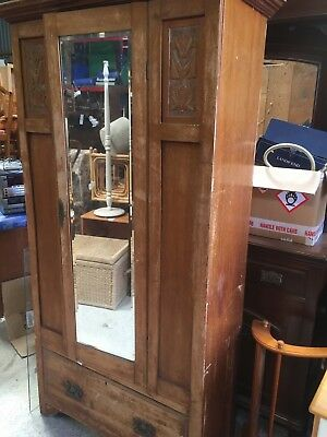 Fabulous Edwardian  Vintage Wardrobe Armoire For Restoration  9/7/W