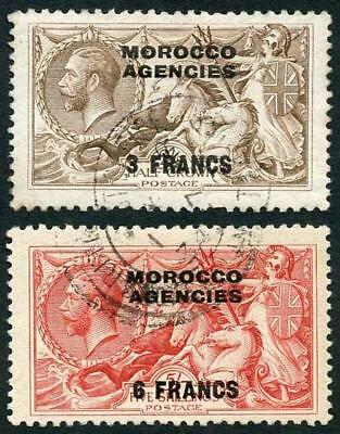 Morocco Agencies SG53/4 1914-31 KGV 2/6 and 5/- Seahorse with Opt VFU