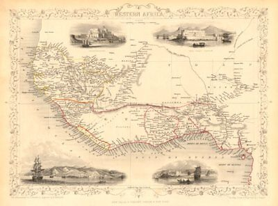 WESTERN AFRICA.Kong Mountains.Caravan routes.Slave Coast. RAPKIN/TALLIS 1851 map